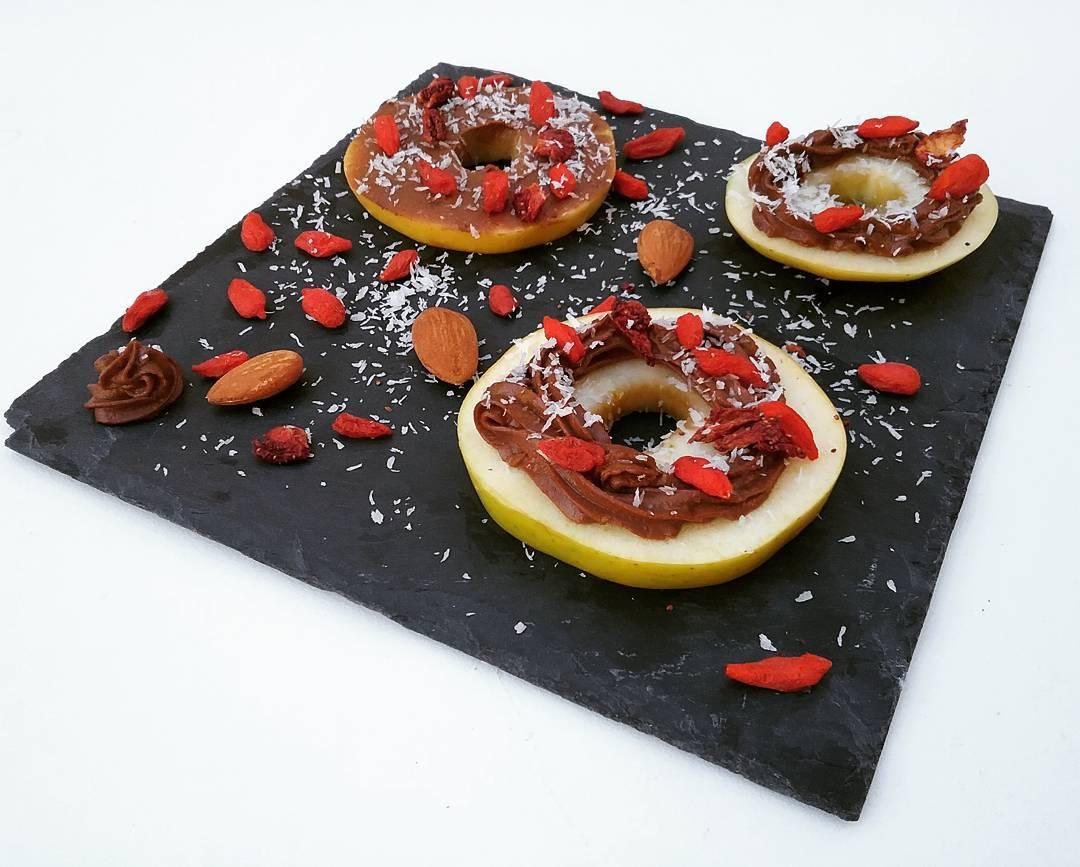 donuts de manzana con praliné de chocolate